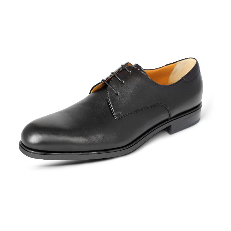 A. Testoni Plain Toe Derby Shoes Black Image