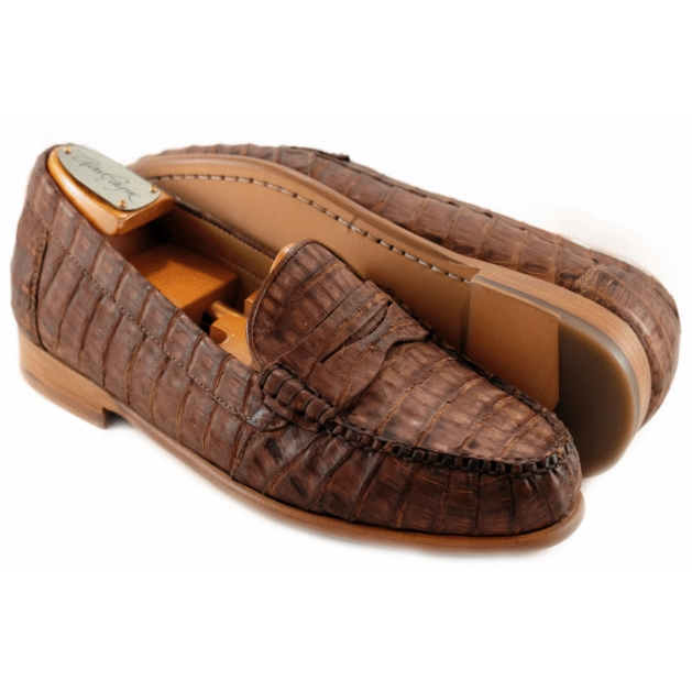 Alan Payne Barker Crocodile Loafers Vintage Brown Image