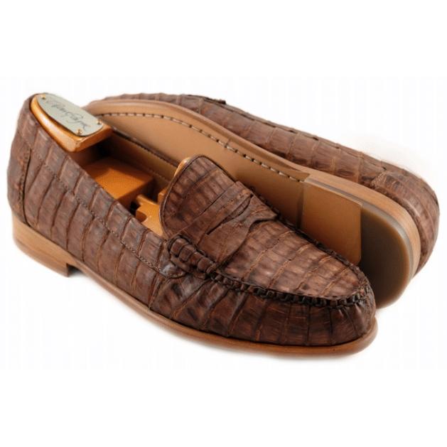 Alan Payne Barker Crocodile Loafers Vintage Brown Image