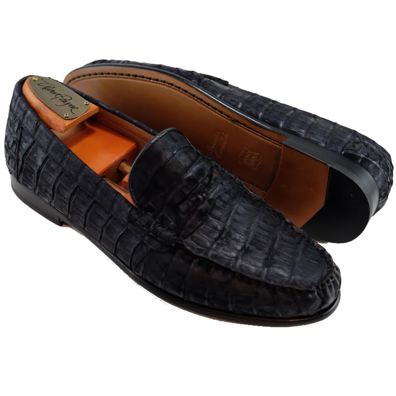 Alan Payne Barker Crocodile Loafers Vintage Dark Navy Image