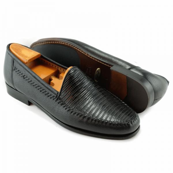 Alan Payne Bergamo Deerskin & Lizard Loafers Black Image
