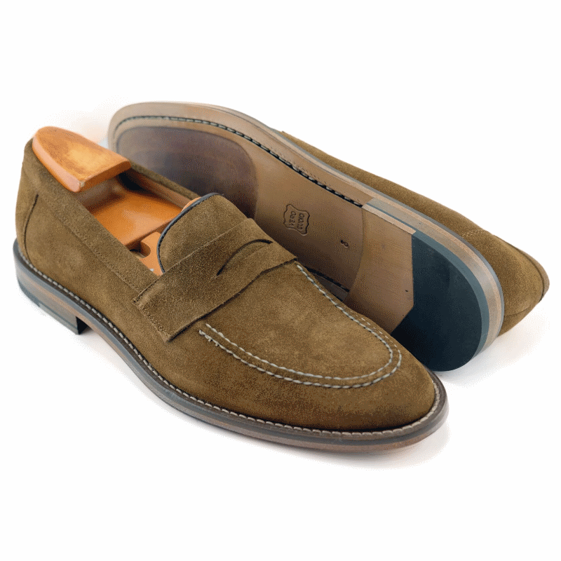 Alan Payne Brockton Suede Penny Loafers Snuff Image