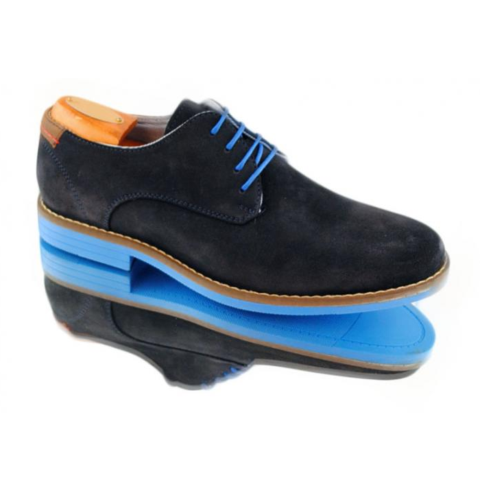 Alan Payne Buckaroo Suede Lace Up Shoes Black Blue Sole