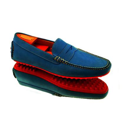 Alan Payne Carrara Nubuck Driving Shoes Blue Image