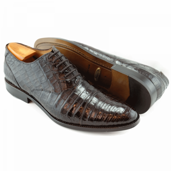 Alan Payne Crawford Alligator Cap Toe Shoes Brown Image