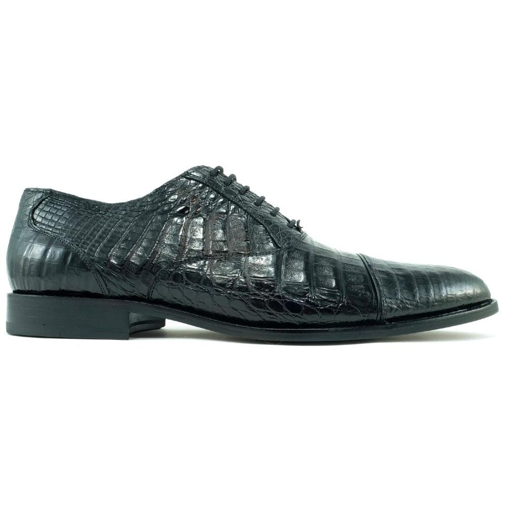 Alan Payne Crawford Alligator Cap Toe Shoes Black Image