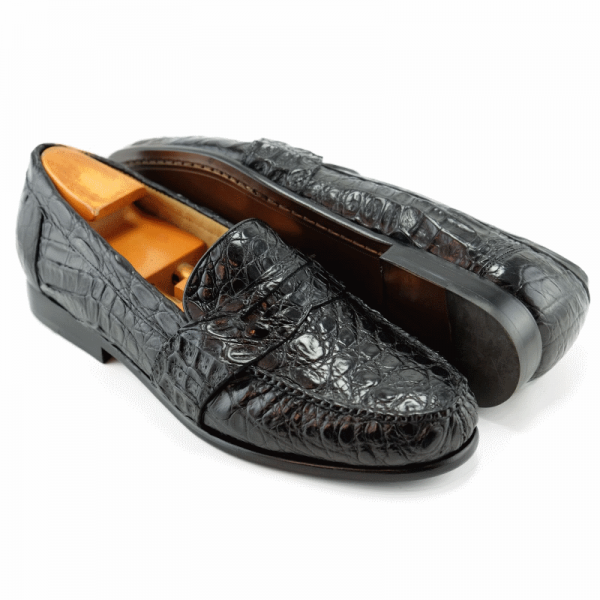 Alan Payne Franco Genuine Crocodile Loafers Black Image