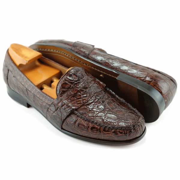 Alan Payne Franco Genuine Crocodile Loafers Sport Rust Image
