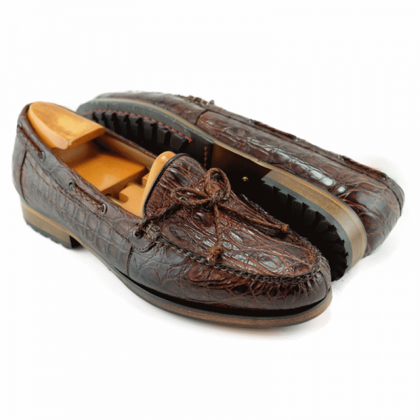 Alan Payne Gino Twist Tie Crocodile Loafers Honey Image