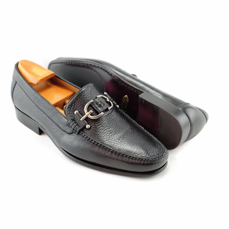 Alan Payne Mario Deerskin Bit Loafers Black Image