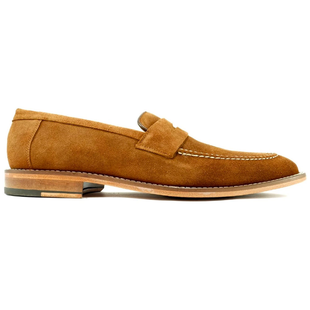 Alan Payne Brockton Suede Penny Loafers Tobacco Image
