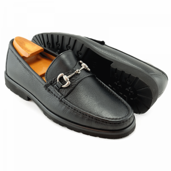 Alan Payne Walker Tumbled Leather Bit Loafers Black Image
