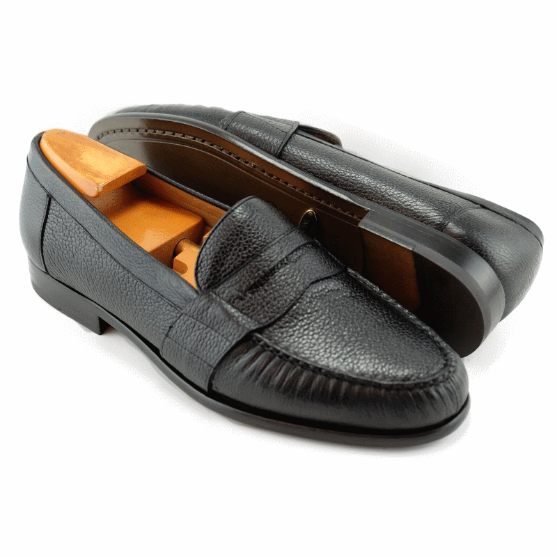 Alan Payne Wellesley Deerskin Penny Loafers Black Image