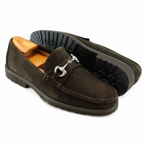 Alan Payne Wharton Suede Bit Loafers Brown Image