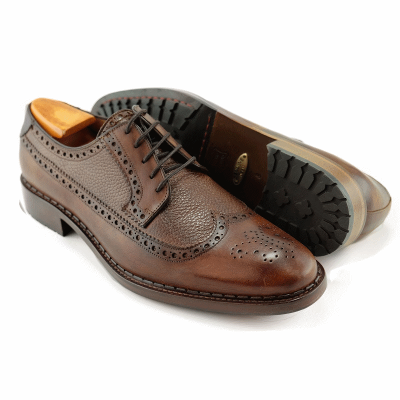 Alan Payne Woods Wingtip Medallion Toe Shoes Almond Image