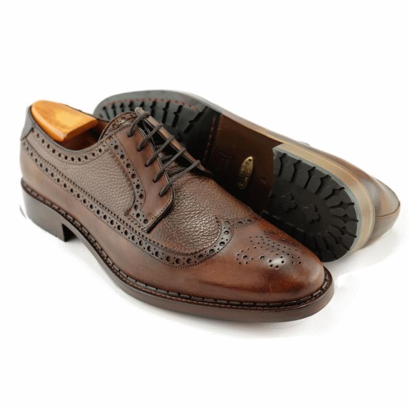 Alan Payne Woods Wingtip Medallion Toe Shoes Almond Image