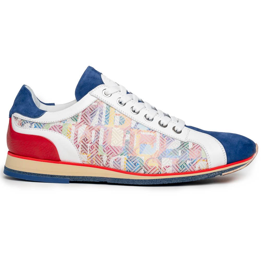 Zelli Alpha Calfskin Alpha Print Sneakers Blue Image
