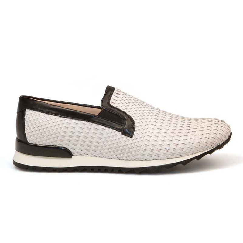 Bacco Bucci Lama Calfskin Sneakers White Image