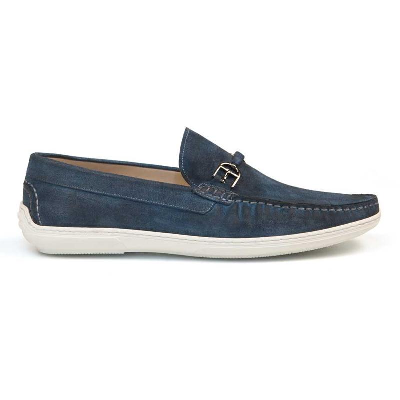 Bacco Bucci Maldini Suede Driving Loafers Jeans Image
