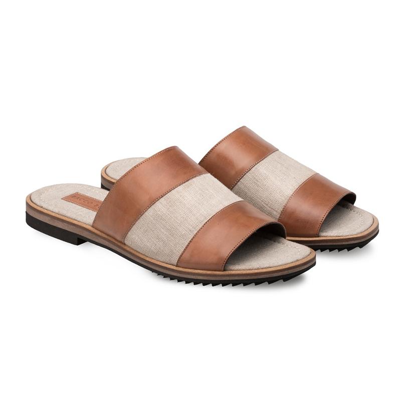 Bacco Bucci Merli Calfskin Fabric Sandal Camel / Bone Image