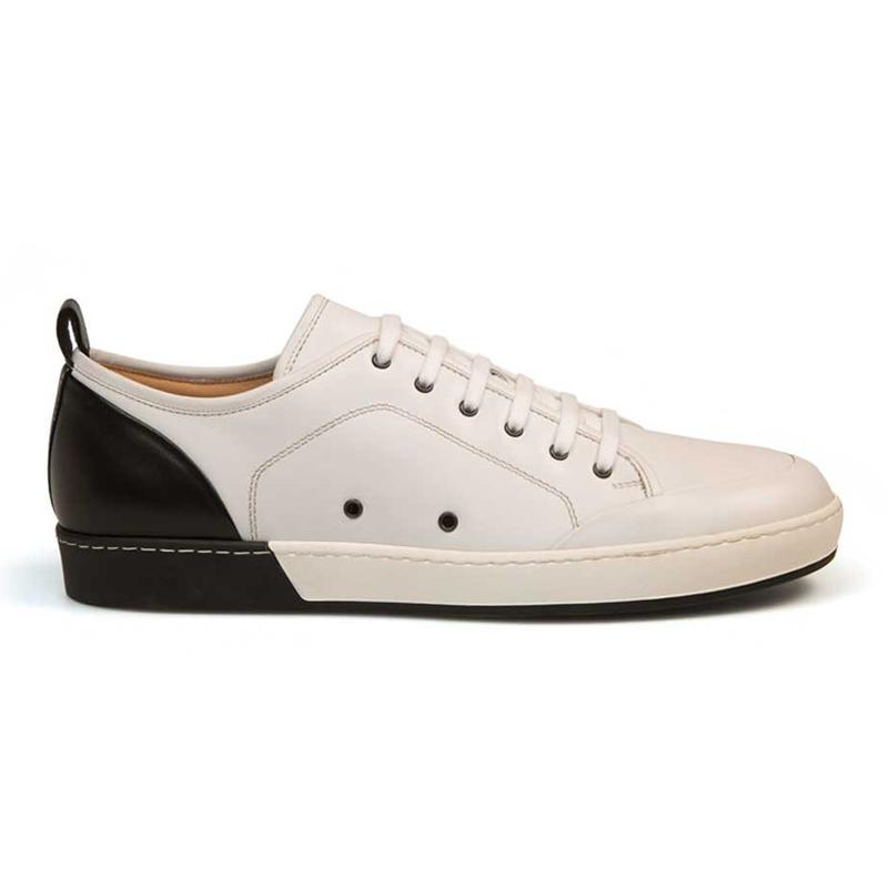 Bacco Bucci Totti Calfskin Sneakers White/ Black Image