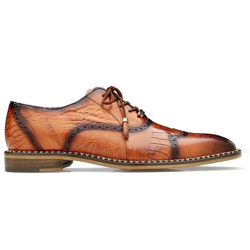 Belvedere Alex Ostrich Wingtip Shoes Antique Tangerine Image