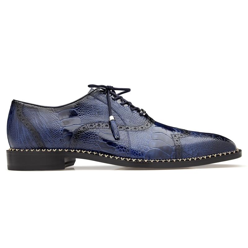 Belvedere Alex Ostrich Wingtip Shoes Antique Royal Blue Image