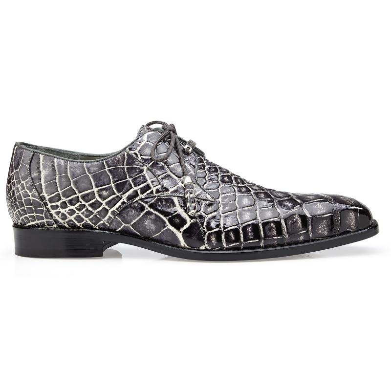 Belvedere Alfred Alligator Derby Shoes Black Rust Image