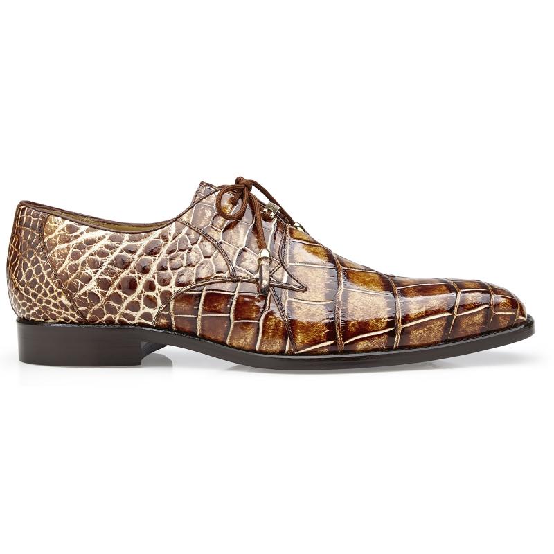 Belvedere Alfred Alligator Derby Shoes Caramel Image