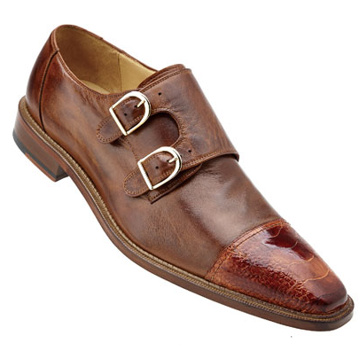 Belvedere Amico Calfskin & Ostrich Double Monk Strap Shoes Brandy / Almond Image