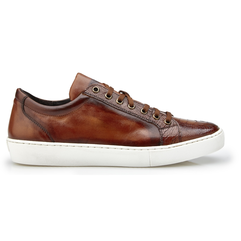 Belvedere Anthony Ostrich Leg & Calfskin Sneakers Almond Safari Image