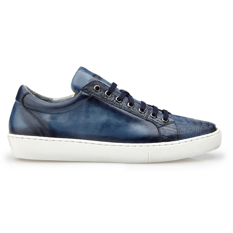 Belvedere Anthony Ostrich Leg & Calfskin Sneakers Blue Safari Image