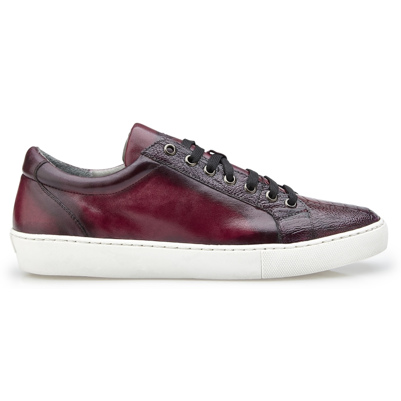Belvedere Anthony Ostrich Leg & Calfskin Sneakers Wine Safari Image