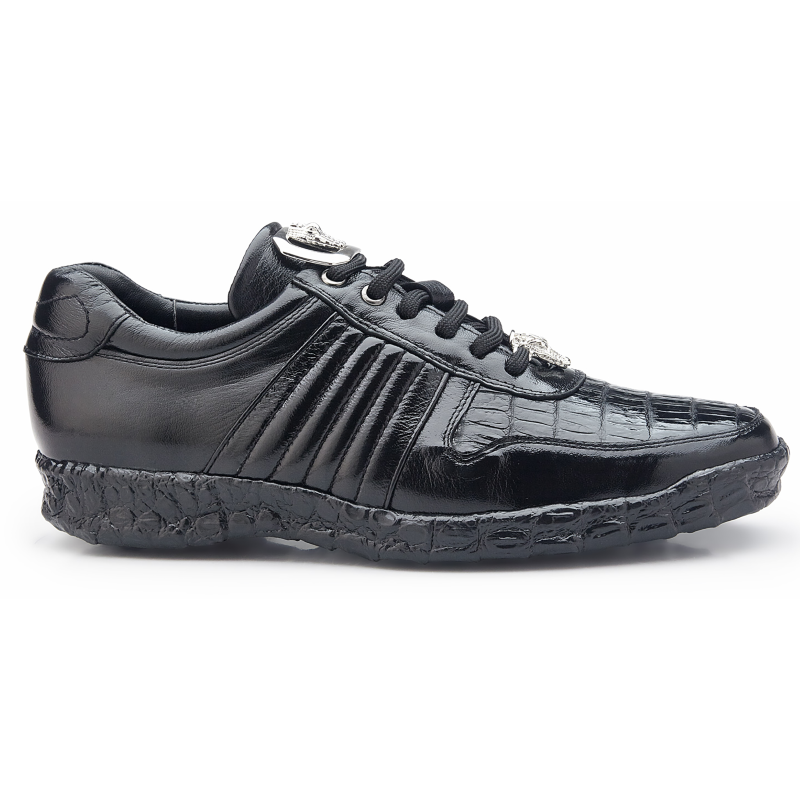 Belvedere Astor Calfskin & Crocodile Sneakers Black Image