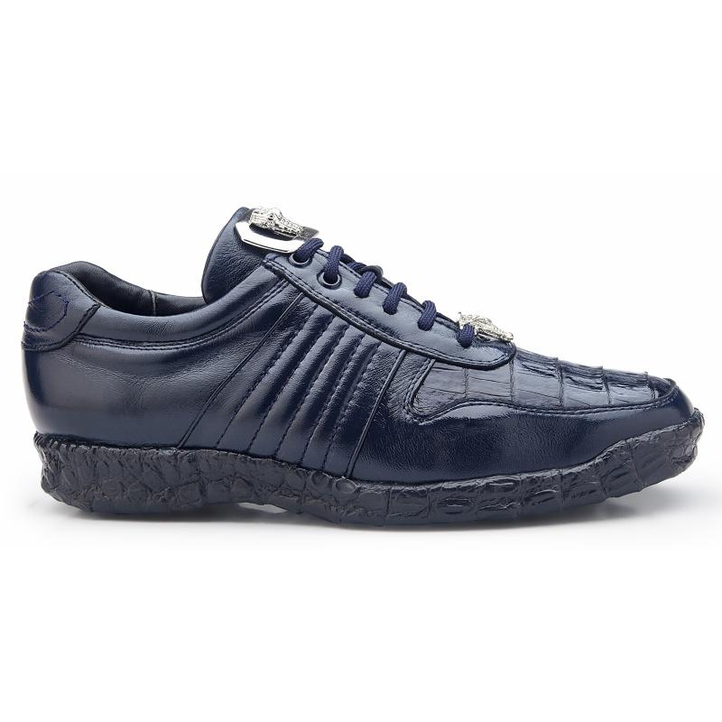 Belvedere Astor Calfskin & Crocodile Sneakers Blue Image