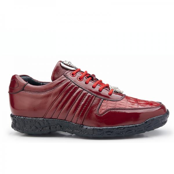 Belvedere Astor Calfskin & Crocodile Sneakers Red