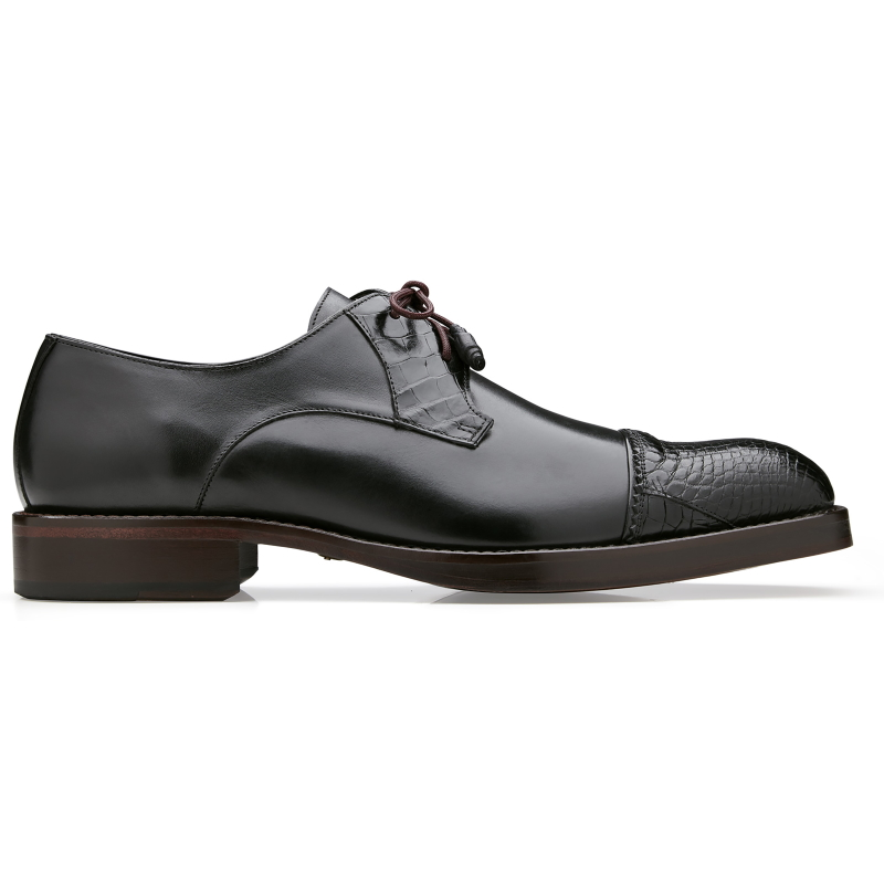 Belvedere Bala Alligator & Calfskin Cap Toe Shoes Black Image