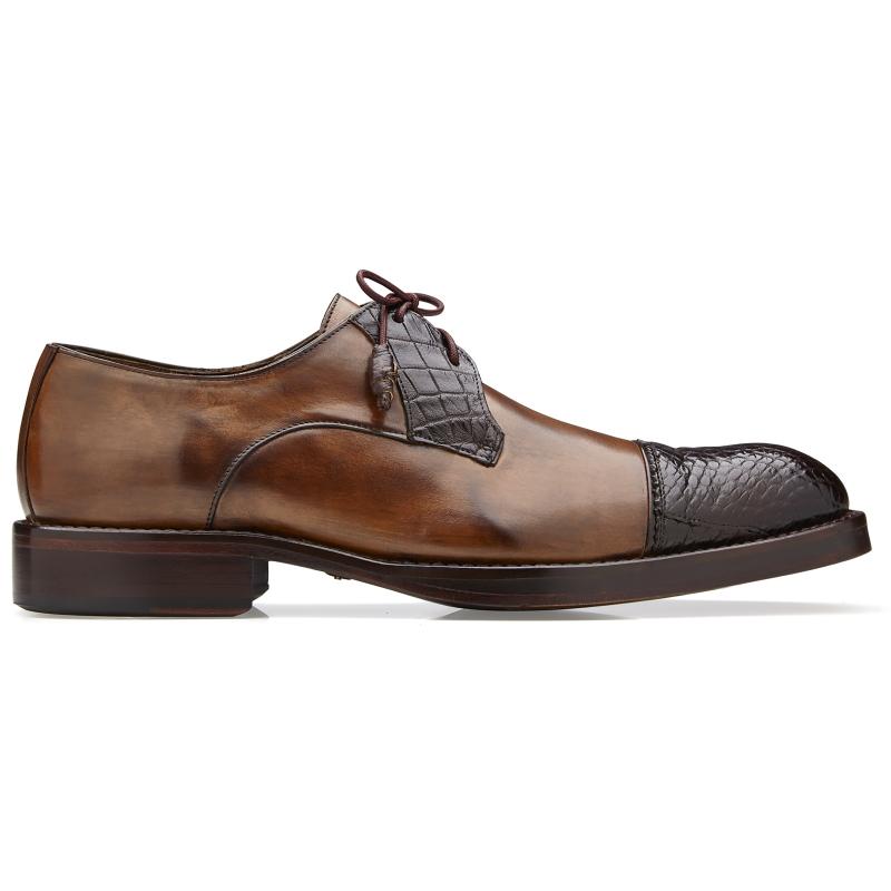 Belvedere Bala Alligator & Calfskin Cap Toe Shoes Antique Chocolate Image