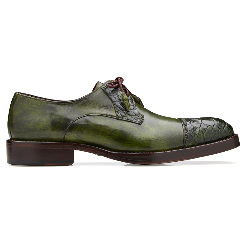 Belvedere Bala Alligator & Calfskin Cap Toe Shoes Emerald Green Image