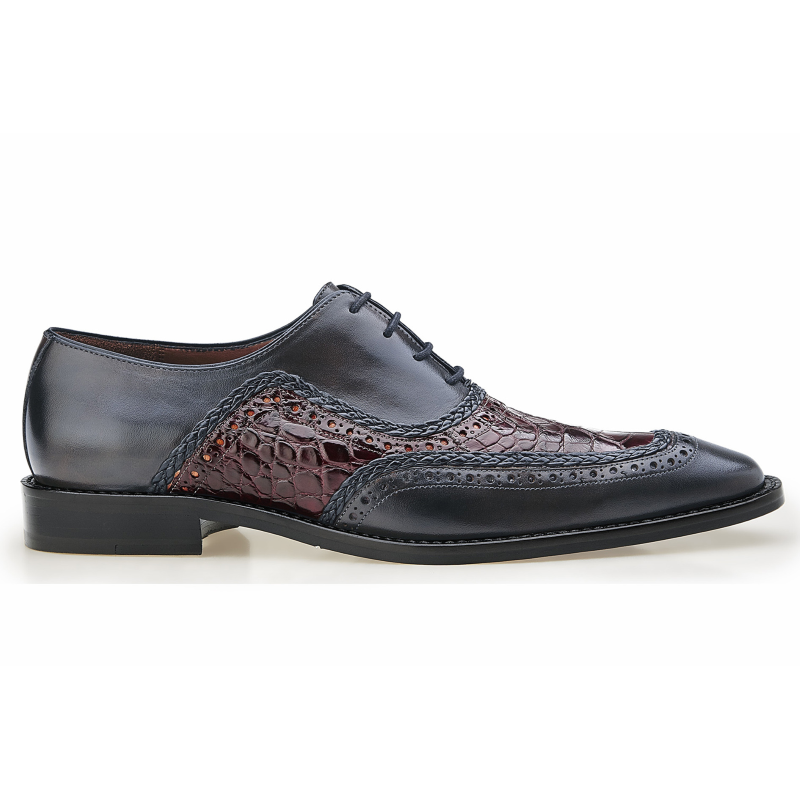 Belvedere Bartolo Alligator & Calfskin Shoes Antique Wine / Charcoal Gray Image
