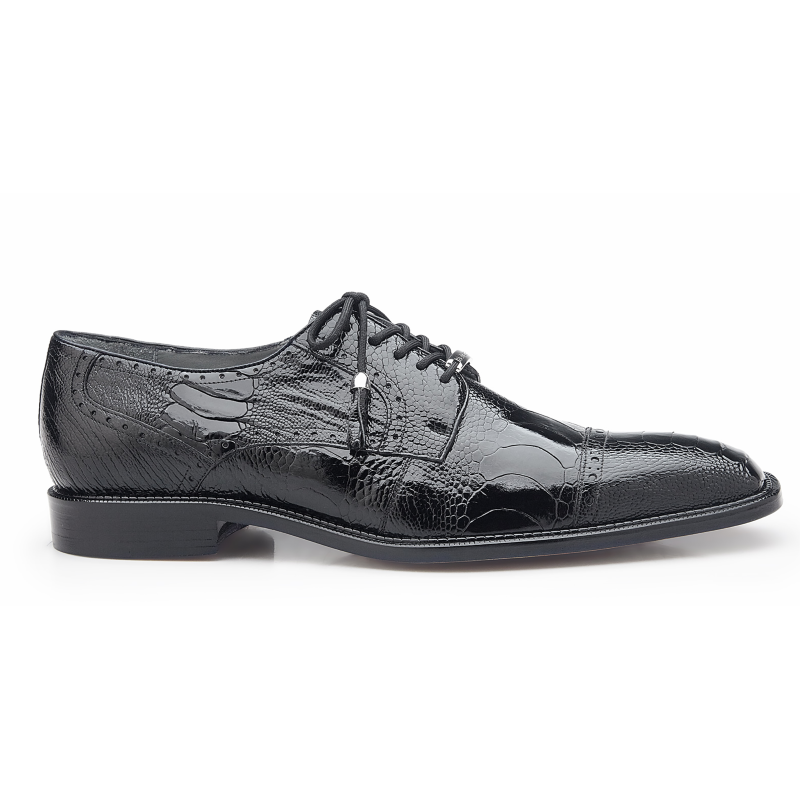 Belvedere Batta Ostrich Leg Cap Toe Shoes Black Image