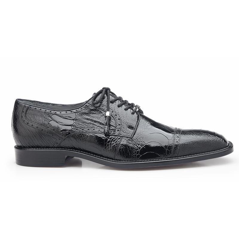 Belvedere Batta Ostrich Leg Cap Toe Shoes Black Image