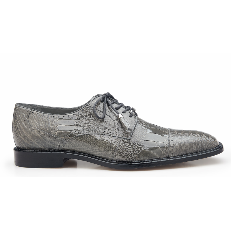Belvedere Batta Ostrich Leg Cap Toe Shoes Gray Image