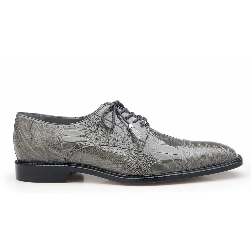 Belvedere Batta Ostrich Leg Cap Toe Shoes Gray