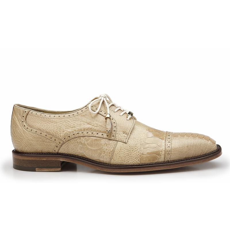 Belvedere Batta Ostrich Leg Cap Toe Shoes Taupe