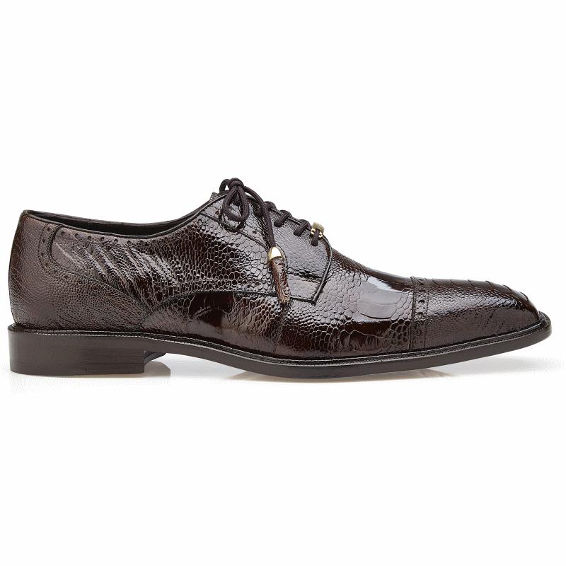 Belvedere Batta Ostrich Leg Cap Toe Shoes Chocolate Image