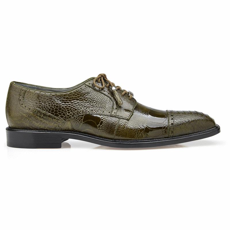 Belvedere Batta Ostrich Leg Cap Toe Shoes Olive Image