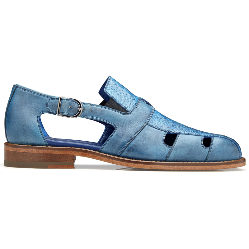 Belvedere Connors Ostrich & Calf Sandals Antique Ocean Blue Image