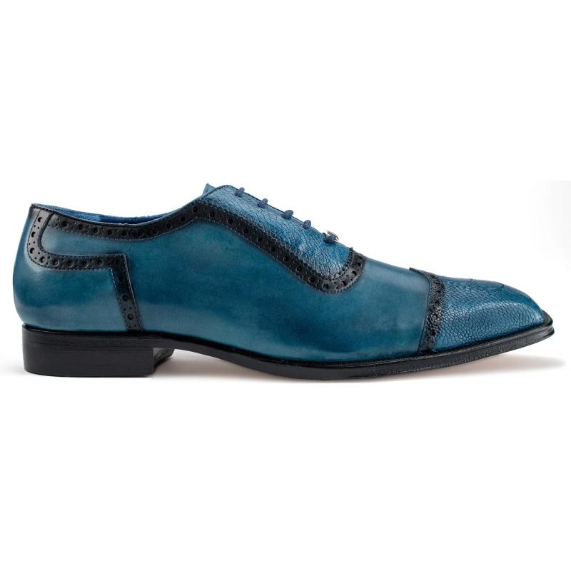 Belvedere Corey Ostrich & Calfskin Shoes Antique Blue Safari Image