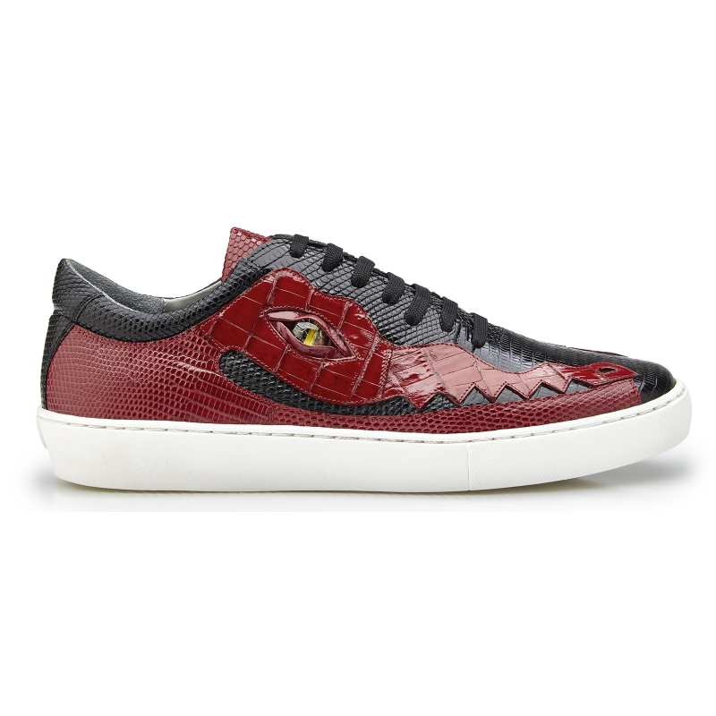 Belvedere Corona Crocodile & Lizard Sneakers Black / Red Image